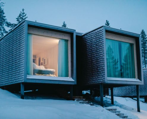 arctic treehouse, finland, hotel, northern lights